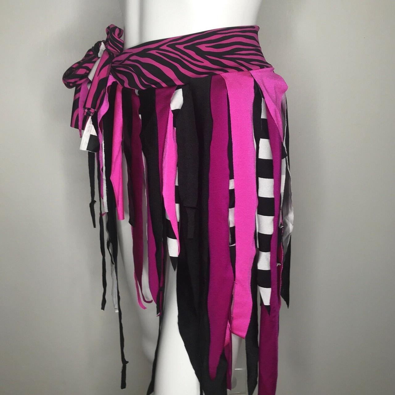 handmade White dance printed geometric pink and black skirt