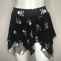 Black Skull & Fishnet Pixie Skirt - Small/Medium