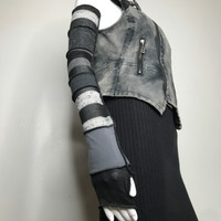 Long Black & Gray Glitter Striped Arm Warmers
