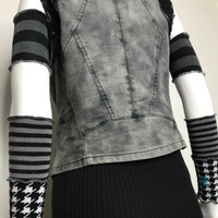 Gray & White Houndstooth Patchwork Arm Warmers