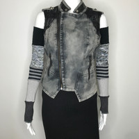 Black & Gray Sweater Knit Patchwork Arm Warmers