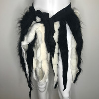 Black & White Fur Wrap Skirt - One Size
