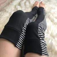 Soft Black & White Striped Knit Leg Warmers