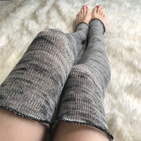 Light Gray Knit Over the Knee Leg Warmers