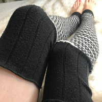 Black & White Striped Knit Leg Warmers