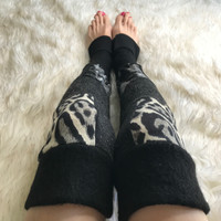 Long Black & Grey Cheetah Print Patchwork Leg Warmers