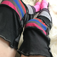 Plus Size Rainbow Striped Patchwork Leg Warmers