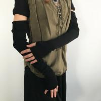 Long Black Shiny Knit Arm Warmers