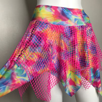 Neon Pink Fishnet Tie Dye Skater Skirt - Small/Medium