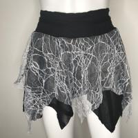 Black & Grey Spiderweb Fishnet Skater Skirt - S M L