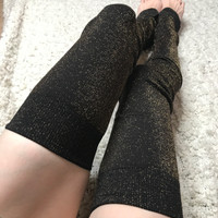 Gold Glitter Thigh High Leg Warmers
