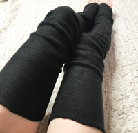 Black Fleece Thigh High Leg Warmers