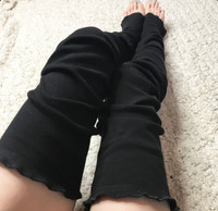 Reversible Black Cotton Knit Thigh High Leg Warmers