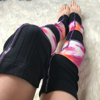 Pink Tie Dye Striped Patchwork Leg Warmers