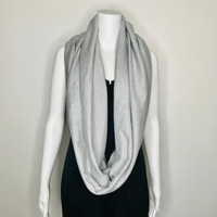 Gray Cotton Blend Infinity Scarf