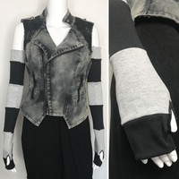 Black & Gray Patchwork Cotton Arm Warmers