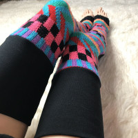 80s Neon Pink Checkered Sweater Knit Leg Warmers