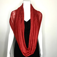 Orange Sheer Knit Infinity Scarf