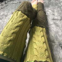 Reversible Green Patchwork Thigh High Leg Warmers