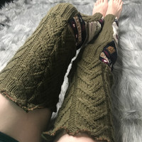 Green Lamb Sweater Knit Thigh High Leg Warmers