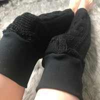 Black Cable Knit Sweater Leg Warmers