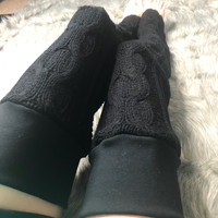 Black Cable Knit Sweater Thigh High Leg Warmers