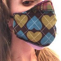 Reversible Purple Heart Patchwork Reusable Face Mask