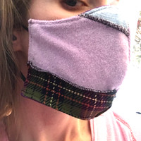 Reversible Purple Patchwork Kawaii Face Mask