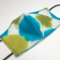 Green & Blue Dot Tie Dye Cotton Festival Face Mask