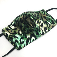 Reversible Green Holographic Cheetah Print Face Mask