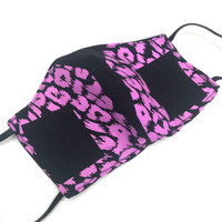 Womens Purple Cheetah Print Fabric Face Mask
