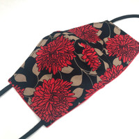 Handmade Womens Red Floral Cotton Face Mask