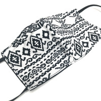 Unisex Adult Black & White Tribal Face Mask