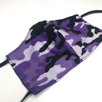 Womens Washable Purple Camouflage Cotton Face Mask