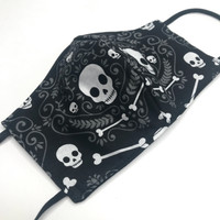 Black & White Skull Bandana Cotton Face Mask