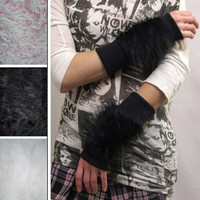 Black Fur Arm Cuffs