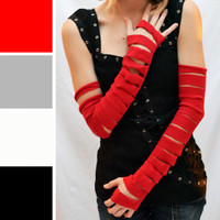 Long Ripped and Torn Red Cotton Arm Warmers
