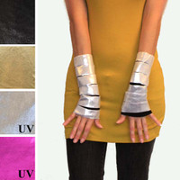 UV Reactive Metallic Silver Slashed Fingerless Gloves