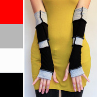 Black and Grey Patchwork Fingerless Gloves