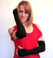 Long Charcoal Wool Arm Warmers