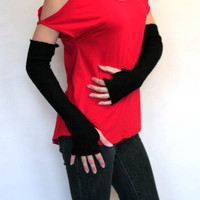 Long Black Wool Arm Warmers