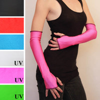 Long Hot Pink Nylon Arm Warmers