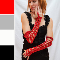 Long Open Knotted Red Cotton Arm Warmers
