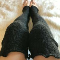 Long Gray Wool Leg Warmers