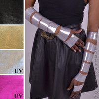 Ripped Shiny Metallic Silver Arm Covers