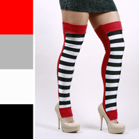 Long Black and White Striped Circus Leg Warmers