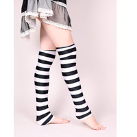 Black and White Shimmer Striped Leg Warmers