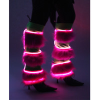Light Up Pink and Green Striped Furry Leg Warmers