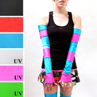 Blue and Pink Striped Anime Arm Warmers