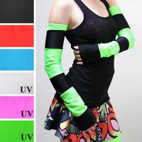 Green and Black Striped Anime Arm Warmers